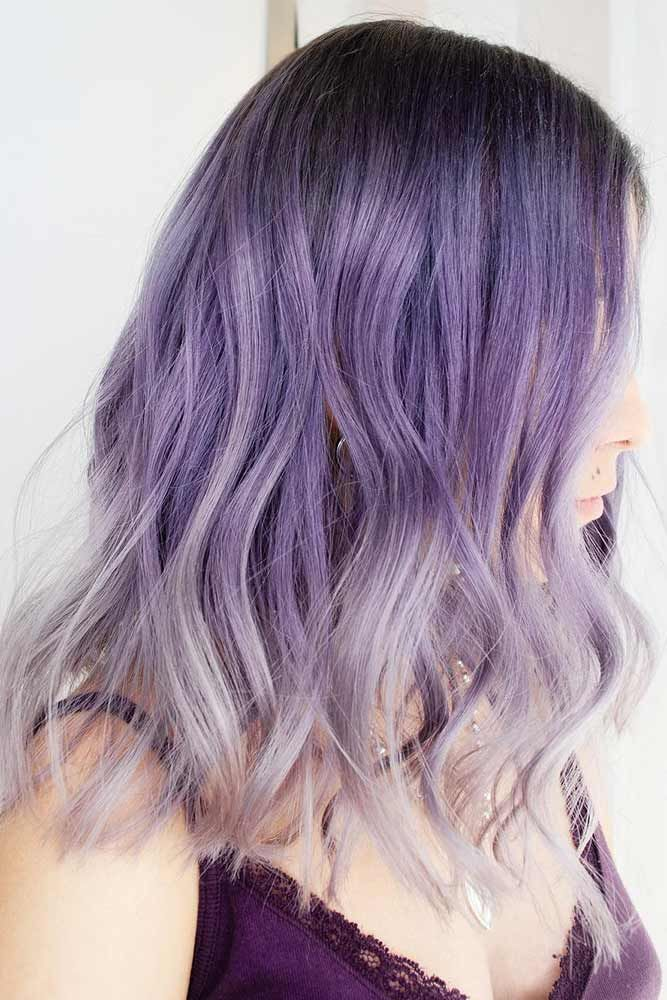 Lavender For Brunettes With Ashy Ends #lavenderhair #ombre #brunette ❤️ Lave...