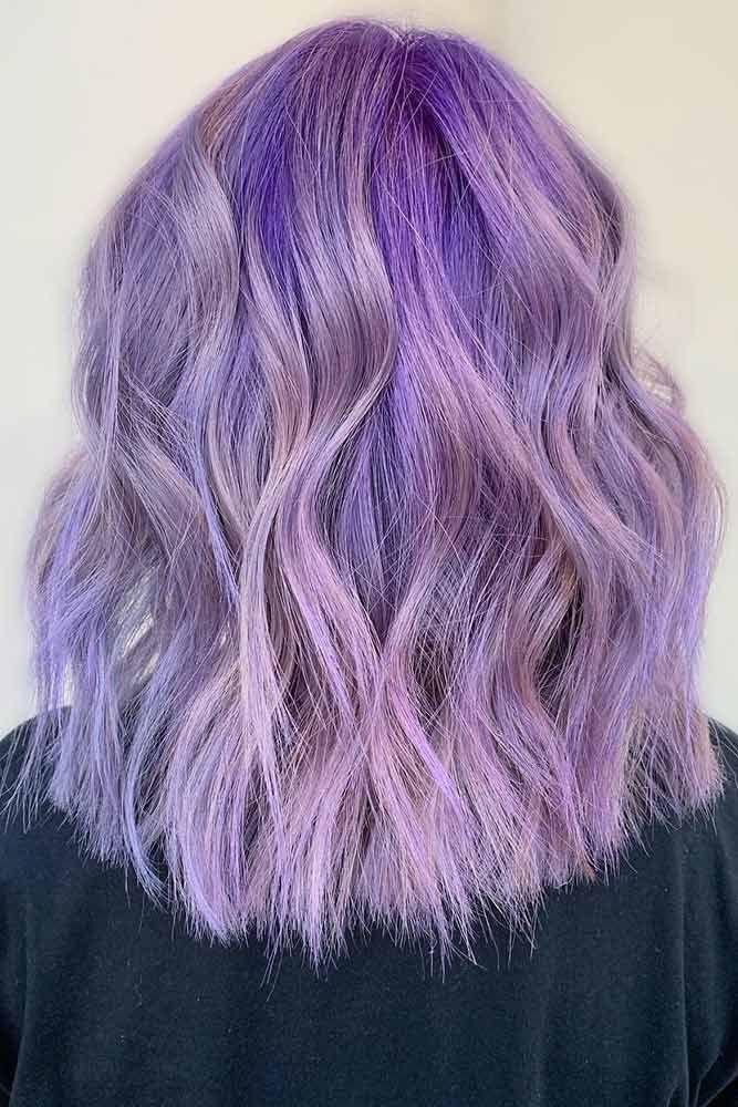 Lavender Highlights With Dark Roots #lavenderhair #highlights ❤️ Lavender ha...