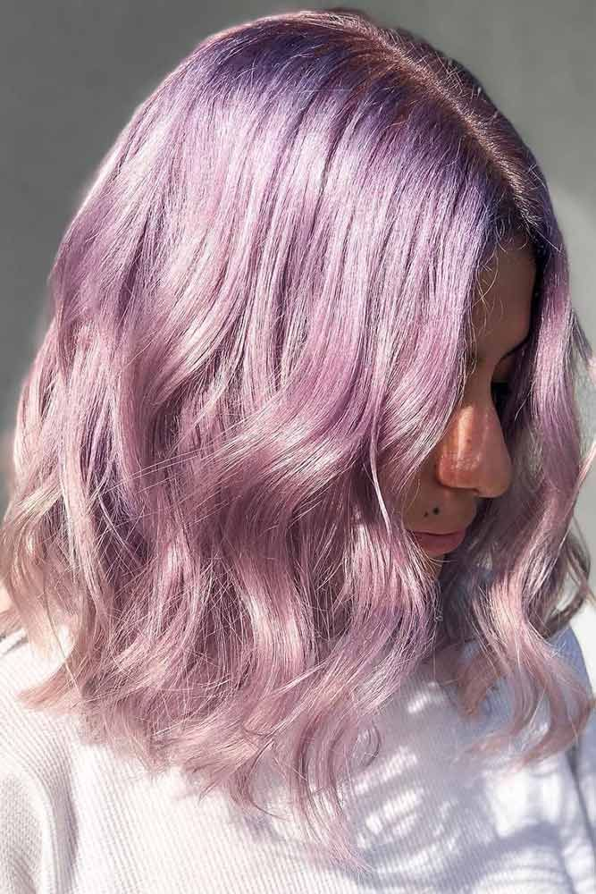 Lavender Roots With Powder Pink #lavenderhair #pinkhair ❤️ Lavender hair col...