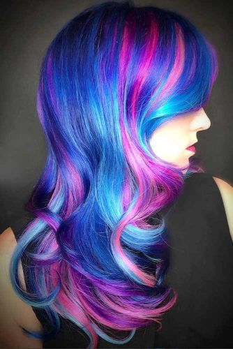 Majorelle Blue Purple #bluehair #purplehair #highlights ❤️ A blue hair color...