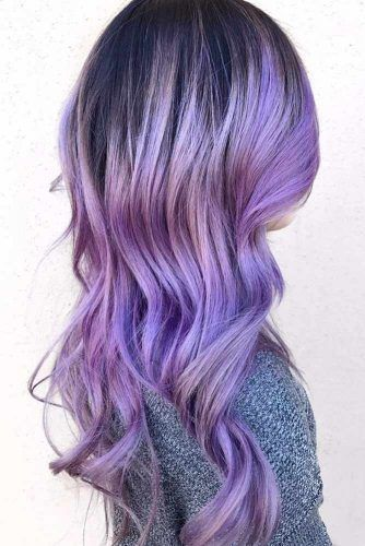 Periwinkle Blue Brunette #bluehair #purplehair ❤️ A blue hair color will wor...