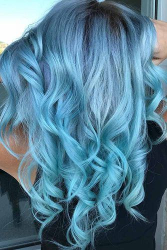 Powder Blue Brunette #bluehair #brunette ❤️ A blue hair color will work grea...