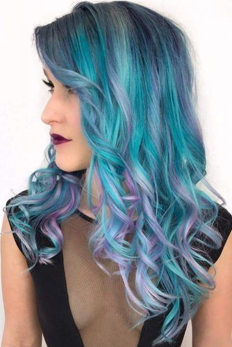 Powder Blue Highlights #highlights #bluehair ❤️ A blue hair color will work ...