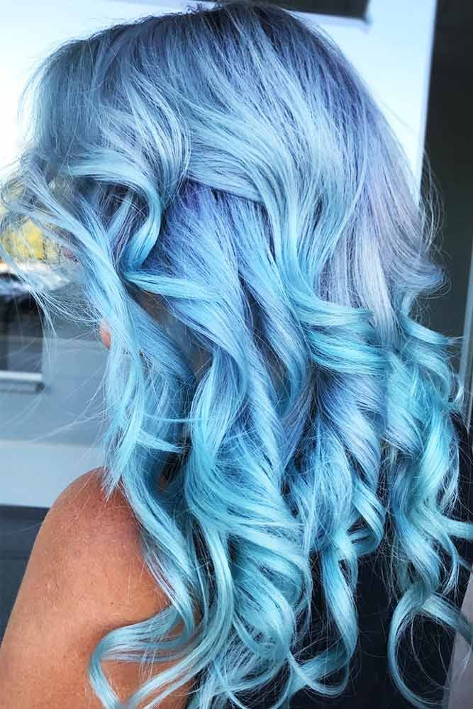 Powder Blue #bluehair ❤️ A blue hair color will work great for women who lov...
