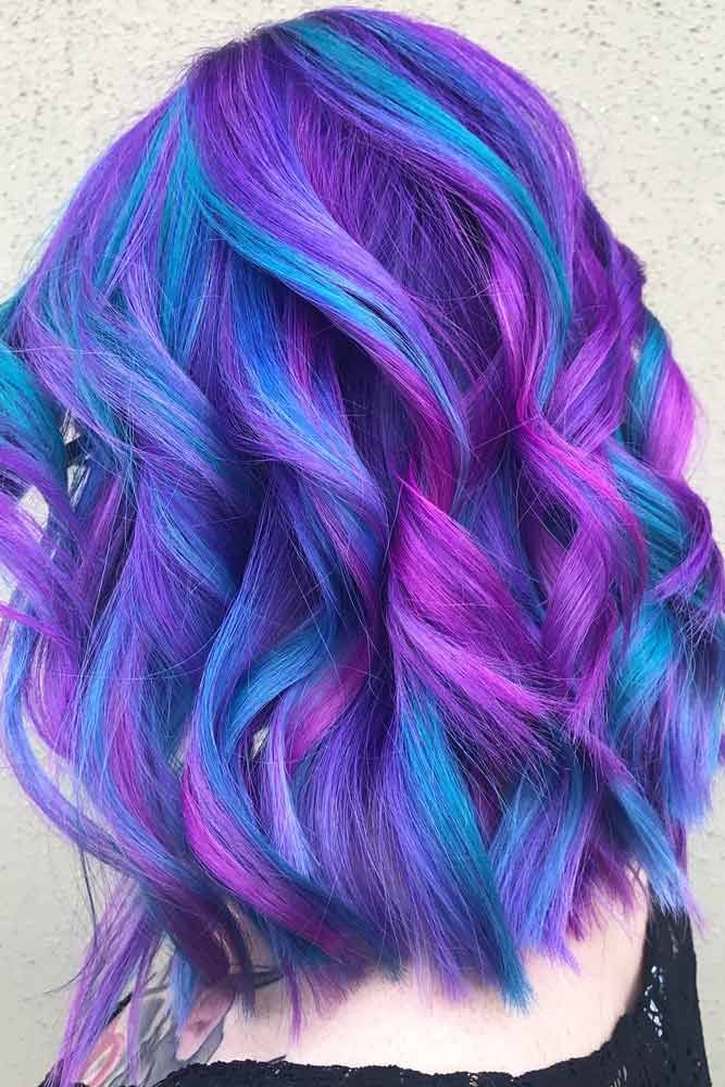 Trendy Blue And Purple Highlights #purplehighlights #highlights #haircolor ❤...