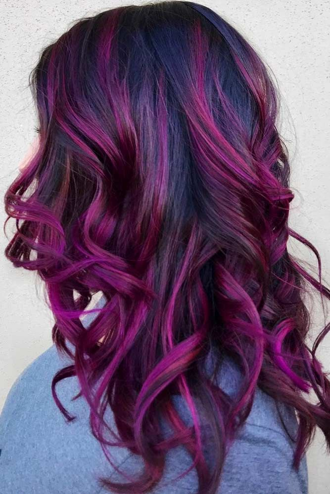 Saturated Dark Purple Shade #purplehighlights #highlights #haircolor #wavyhair ...