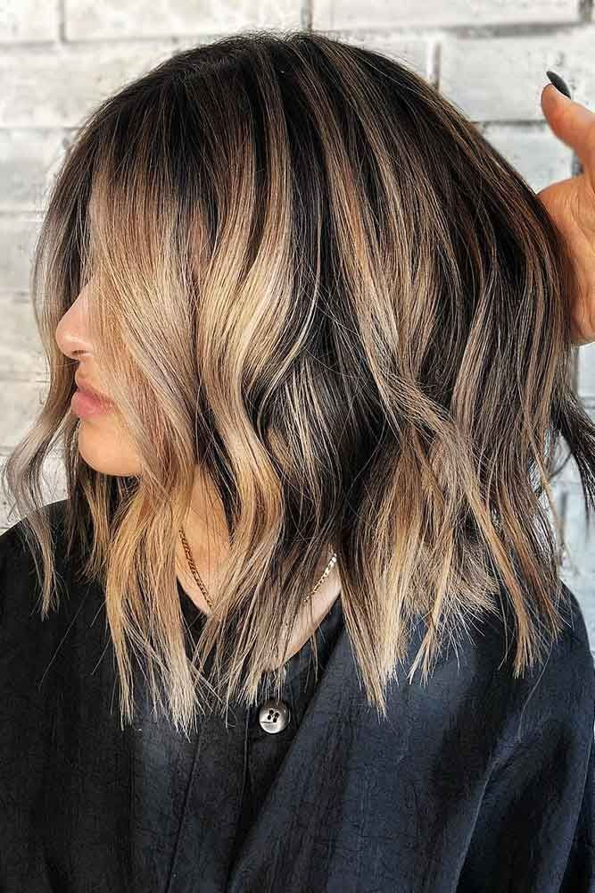 Burlywood Balayage On Textured Long Bob #brunette #highlights #balayage ❤️ B...