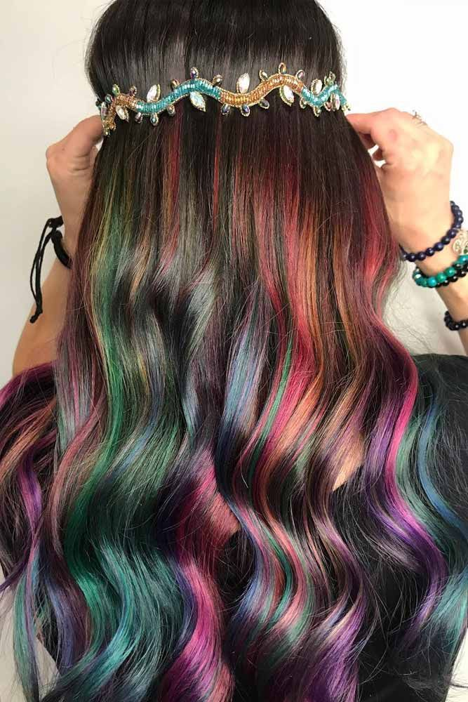 Dark Rainbow Ribbons ❤️ A Brunette Can Look Like A Mermaid, Too! ❤️ Chec...