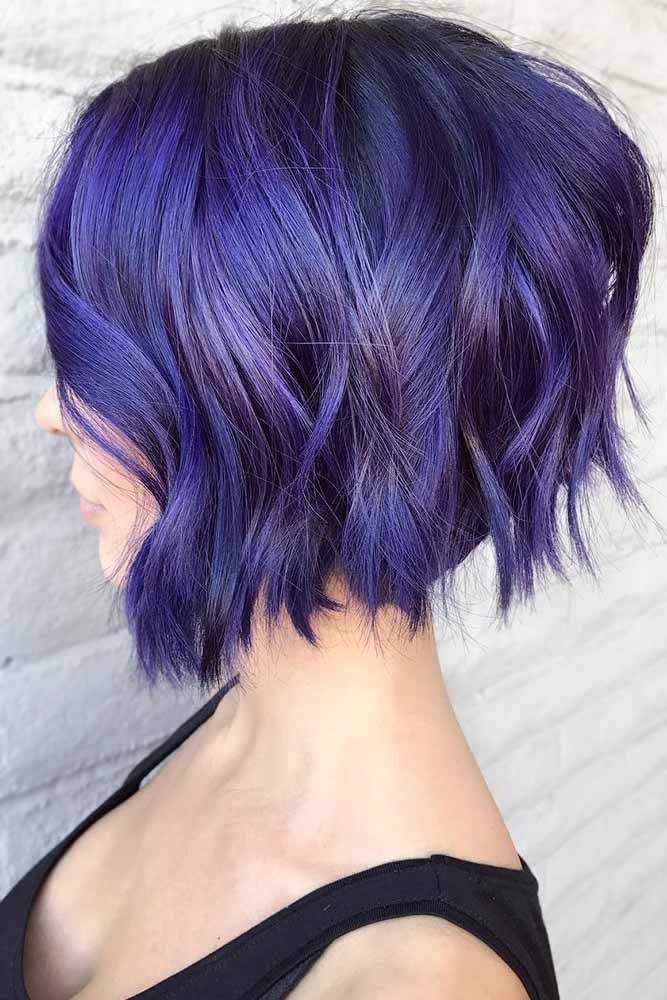 Electric Violet Bob #purplehair #bob ❤️ Dark purple hair is quite bold, and ...