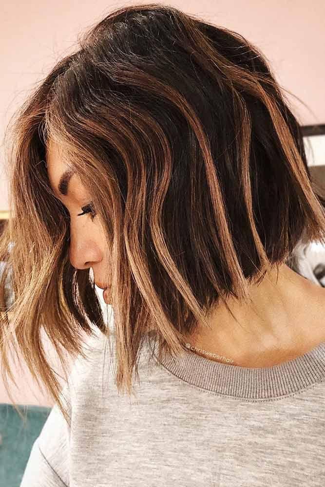 Highlights For Short To Medium Hair Bob #brunette #highlights ❤️ Highlighted...