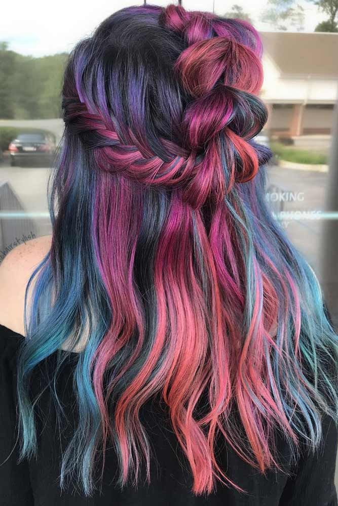Muted Lavender Rainbow Hair Color ❤️ A Brunette Can Look Like A Mermaid, Too...
