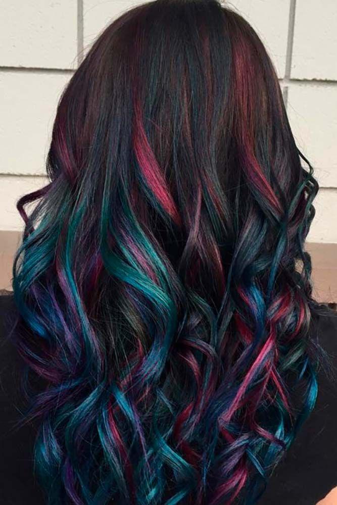 Mystery Color Idea For Dark Long Hair ❤️ A Brunette Can Look Like A Mermaid,...