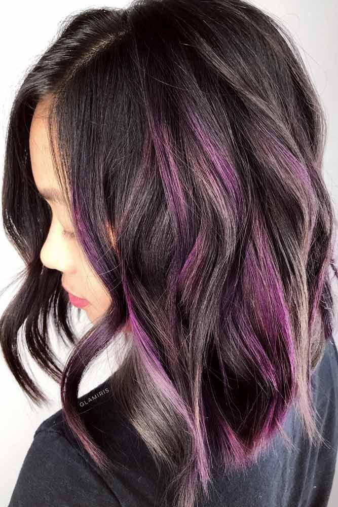 Pastel Purple And Grey Highlights  #purplehighlights #highlights #haircolor #wav...