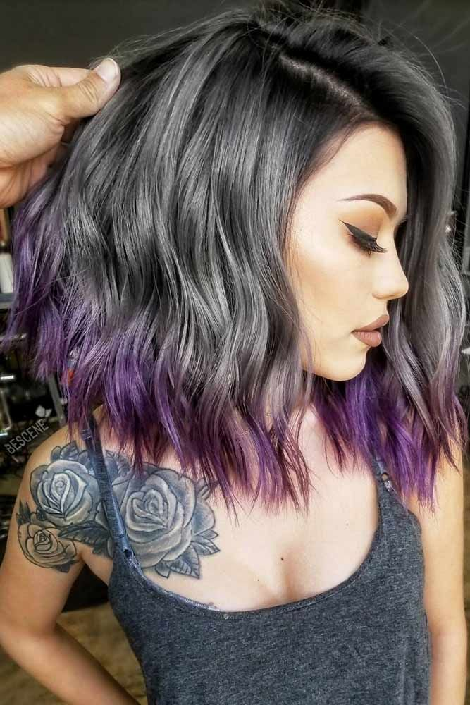 Soft Purple Ombre For Your Ends  #purplehighlights #highlights #haircolor #wavyh...