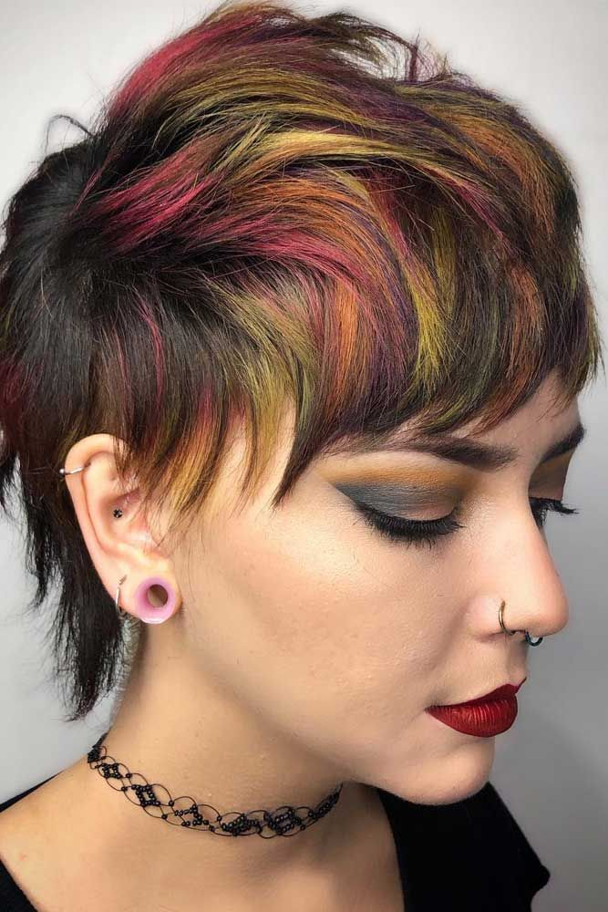 Splash Of Rainbow Hair Combo On Short Hair ❤️ A Brunette Can Look Like A Mer...