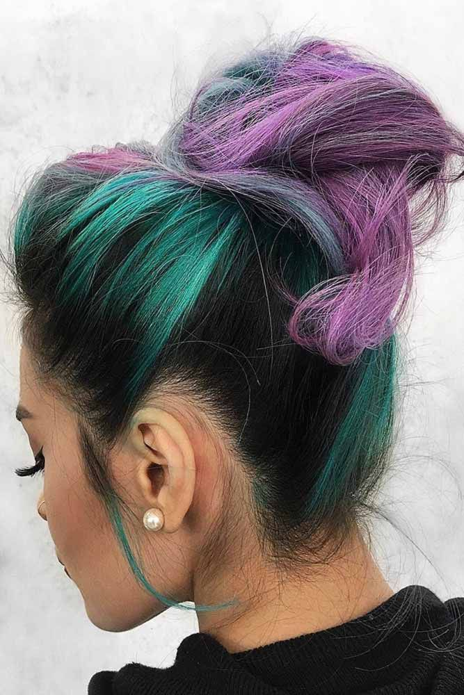 Teal Accents On Black Hair With Purple #tealhair #purplehair ❤️ What can com...