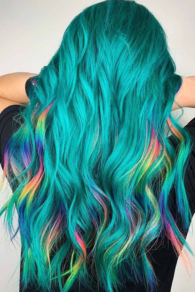 Teal With Rainbow Highlights #highlights #tealhair ❤️ What can compare to th...