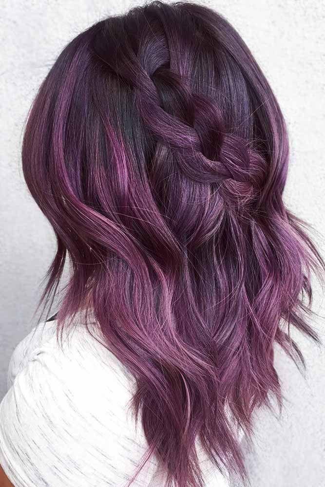 Amethyst Dark Purple Braided Hair #purplehair #balayage ❤️ Dark purple hair ...