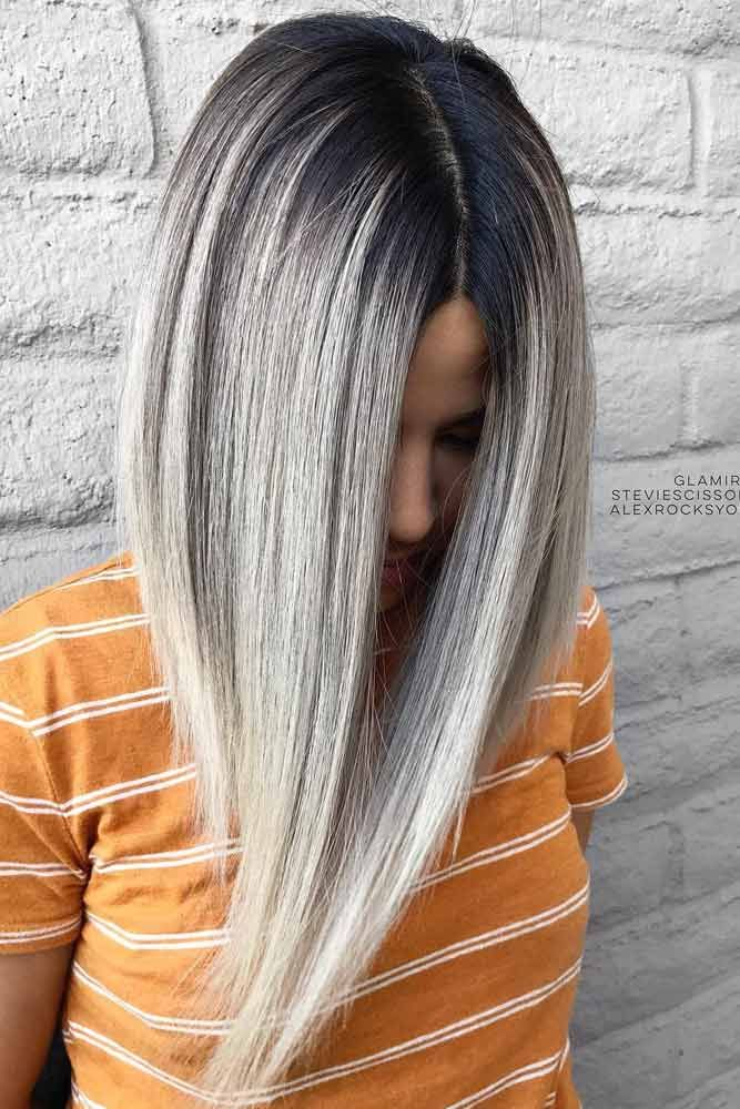 Dark Root Hair With Grey Color #greyombrehair #haircolor #ombrehair ❤️ Grey ...