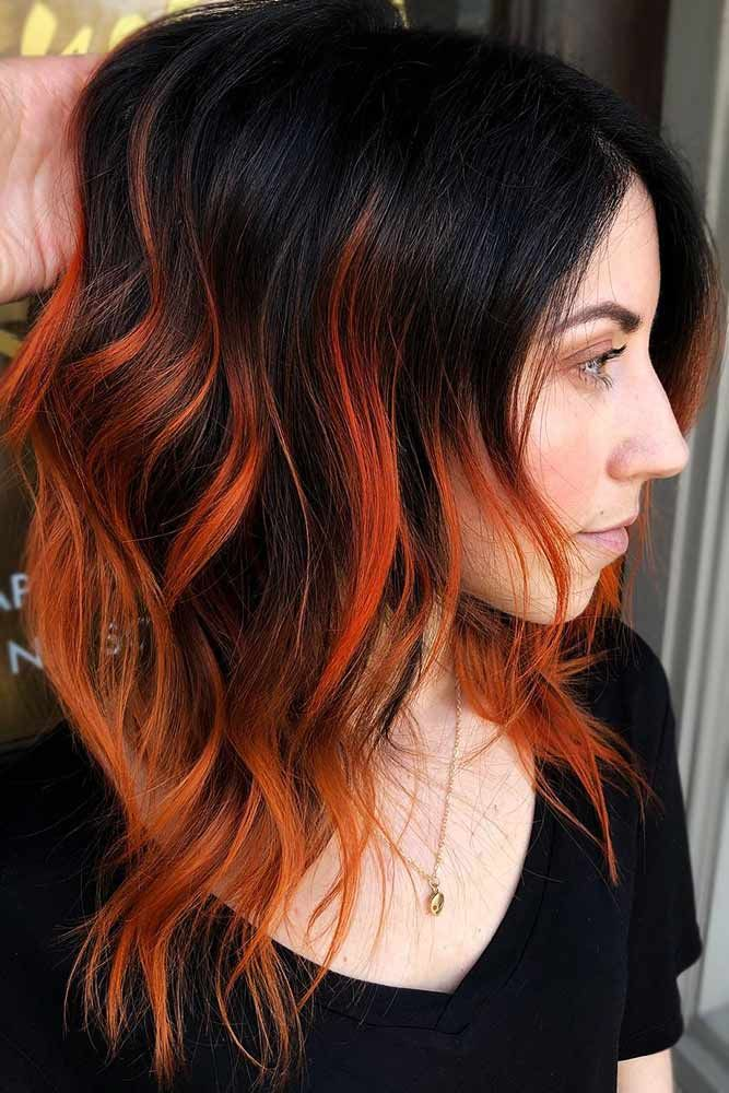 Fiery Orange Highlights #brunette #highlights #redhair ❤️ Do you know how aw...