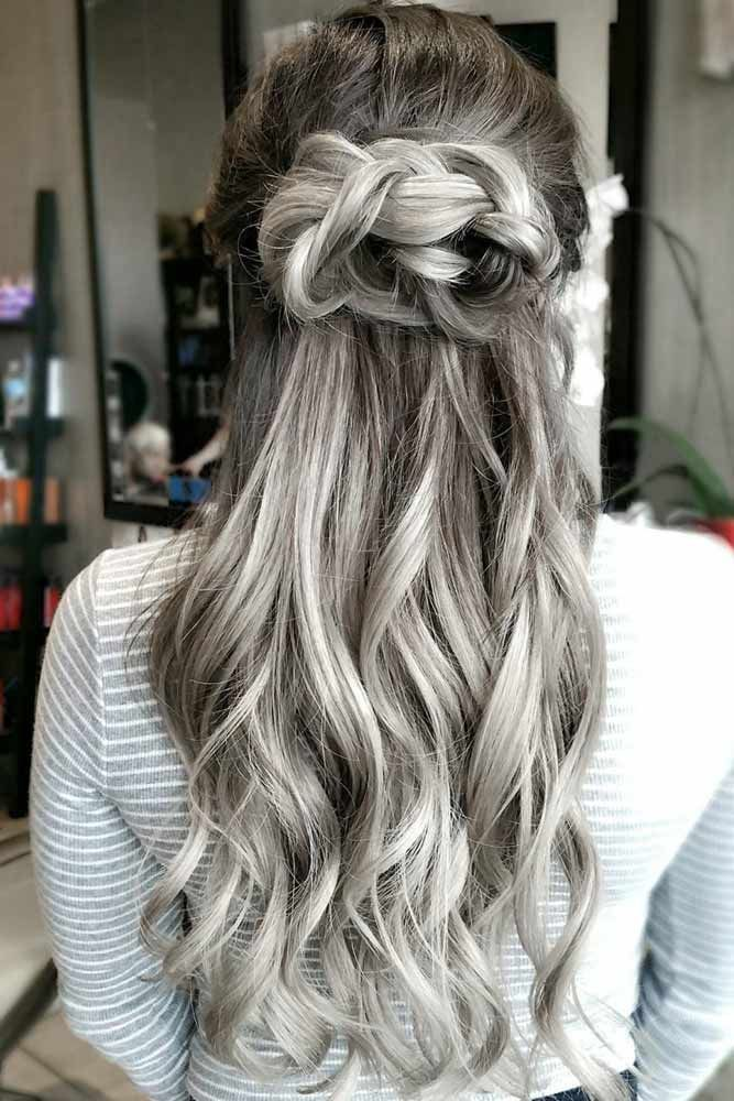 Knotted Braided Style #saltandpepperhair #halfup #baids ❤️ Salt and pepper h...