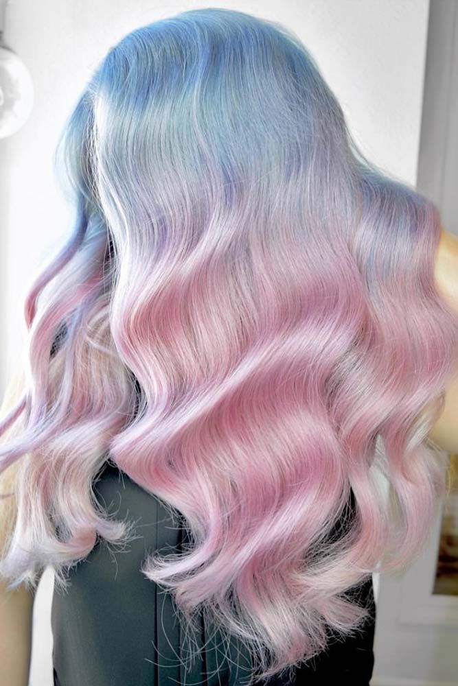 Pastel Pink And Blue Hair #ombre #pastelhair #bluehair ❤️ Pastel hair colors...