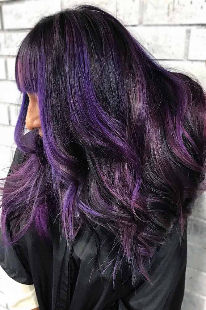 Purple Highlights #brunette #highlights #purplehair ❤️ Do you know how aweso...
