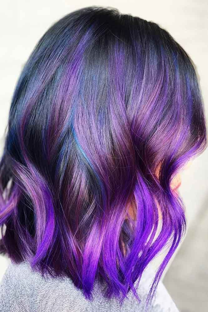 Purple Ombre #purplehair #ombre ❤️ Dark purple hair is quite bold, and that ...