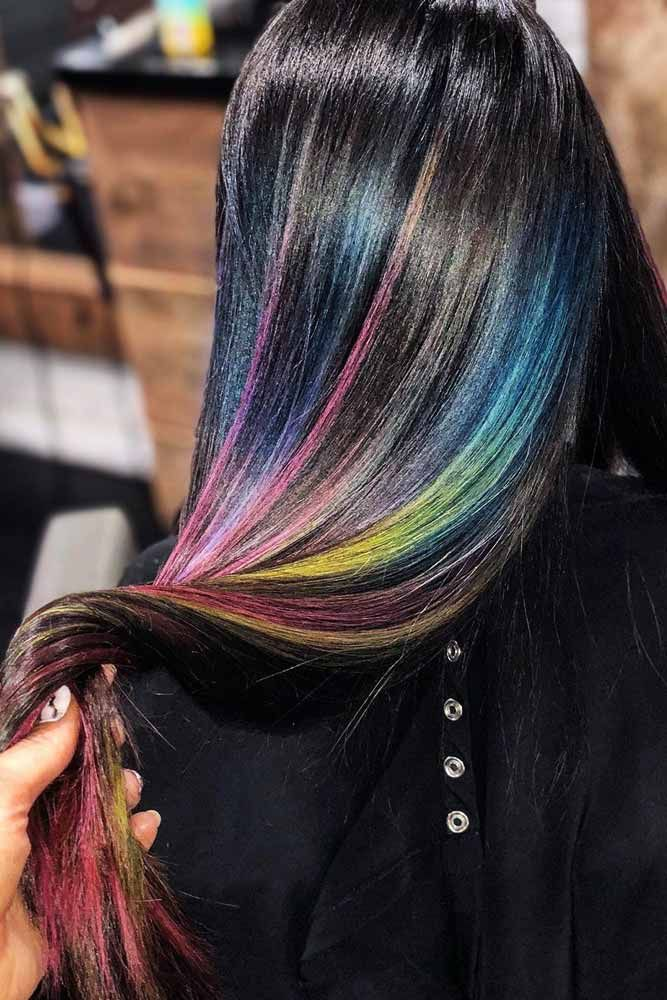 Rainbow Highlights #brunette #highlights #rainbowhair ❤️ Do you know how awe...