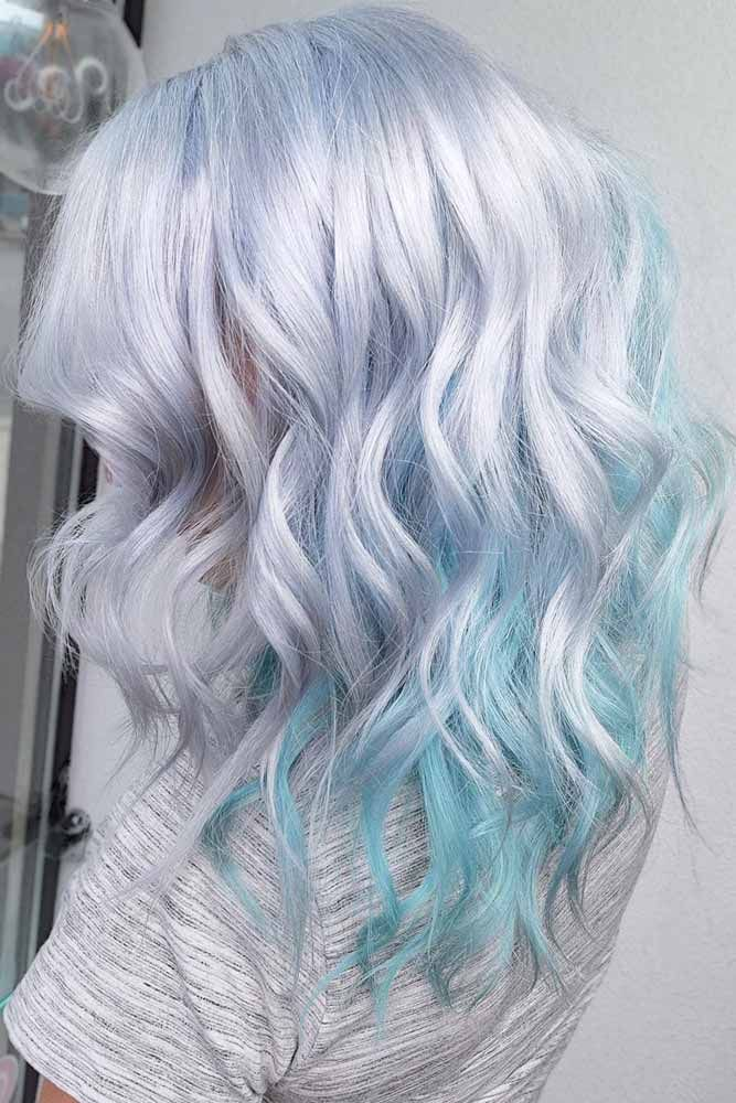 Silver & Light Aqua Blue #pastelhair #bluehair ❤️ Pastel hair colors speak n...