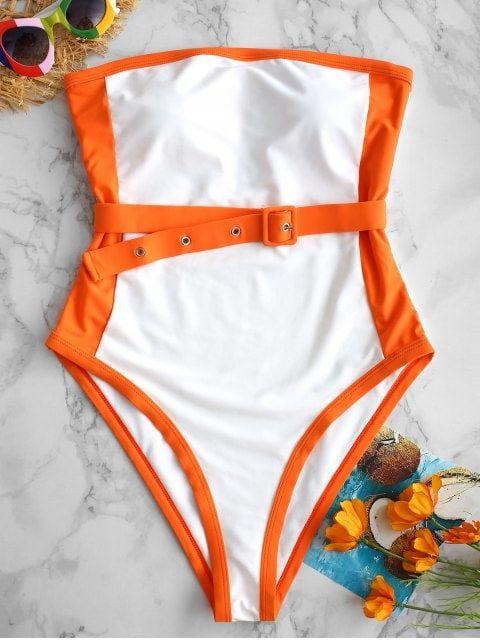 Two Tone Belt Bandeau Swimsuit