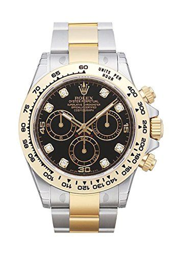 Rolex Cosmograph Daytona Black Diamond Dial Steel 18K Yellow Gold Men's Watch 11...