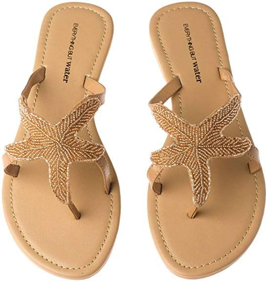 Amazon.com | Olivia Miller Women's Beaded Starfish Flip Flop Thong Sandals Champ...