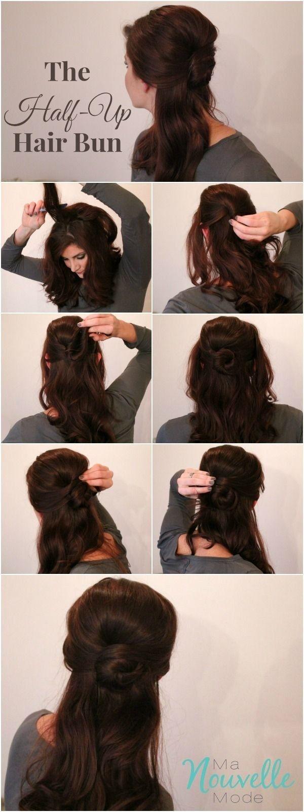 Belle's elegant half-up bun