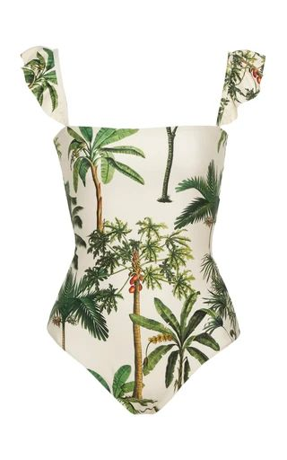 Agua Bendita Agua by Nativa Palm Tree-Print One-Piece Swimsuit Size: X