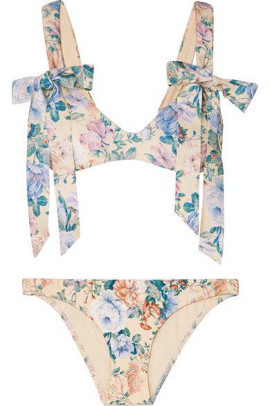 Zimmermann - Verity Bow Floral-print Bikini - Blue