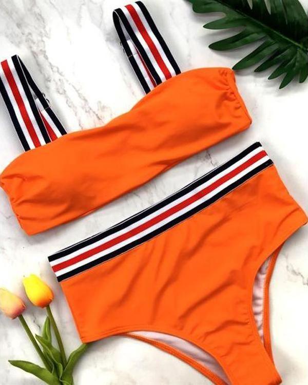 Lively Dynamic Solid Bikini Set