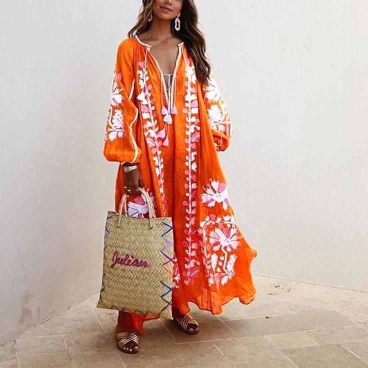 Bohemian Inwrought Colour Loose V Neck Maxi Dresses