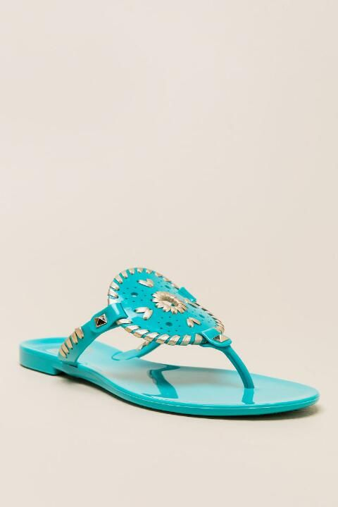 Jack Rogers, Georgica Whipstitch Jelly Sandal in Turquoise