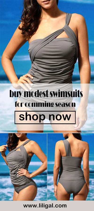 One Shoulder Top and Grey Panty Swimwear