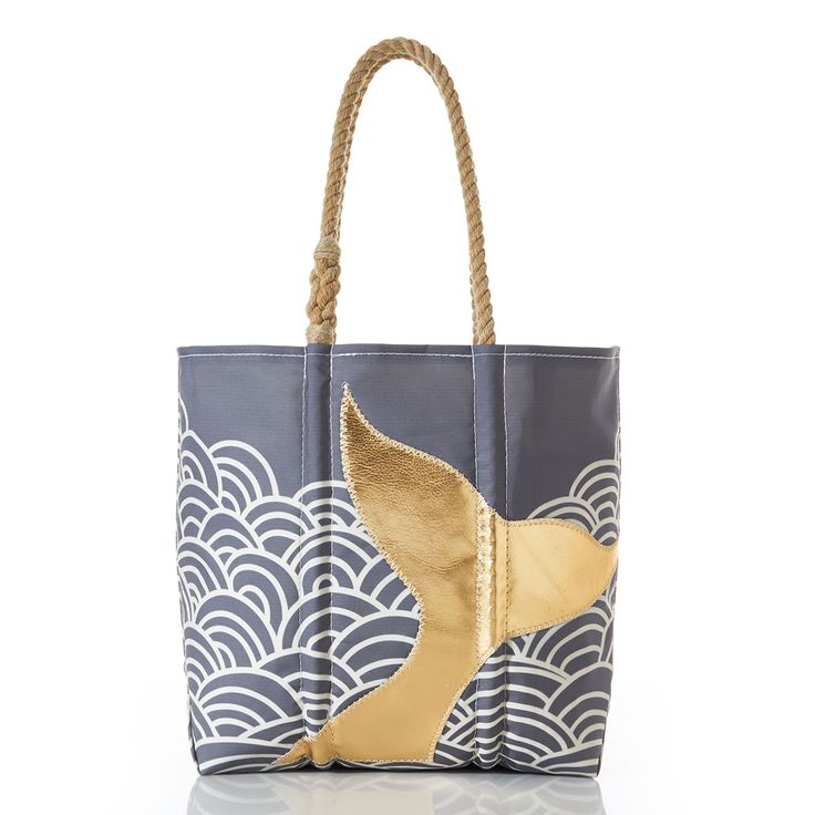 Sea Bags Recycled Sail Cloth Gold Mermaid Tail and Waves Tote