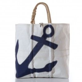 Sea Bags Recycled Sail Cloth Navy Anchor Tote X-Large