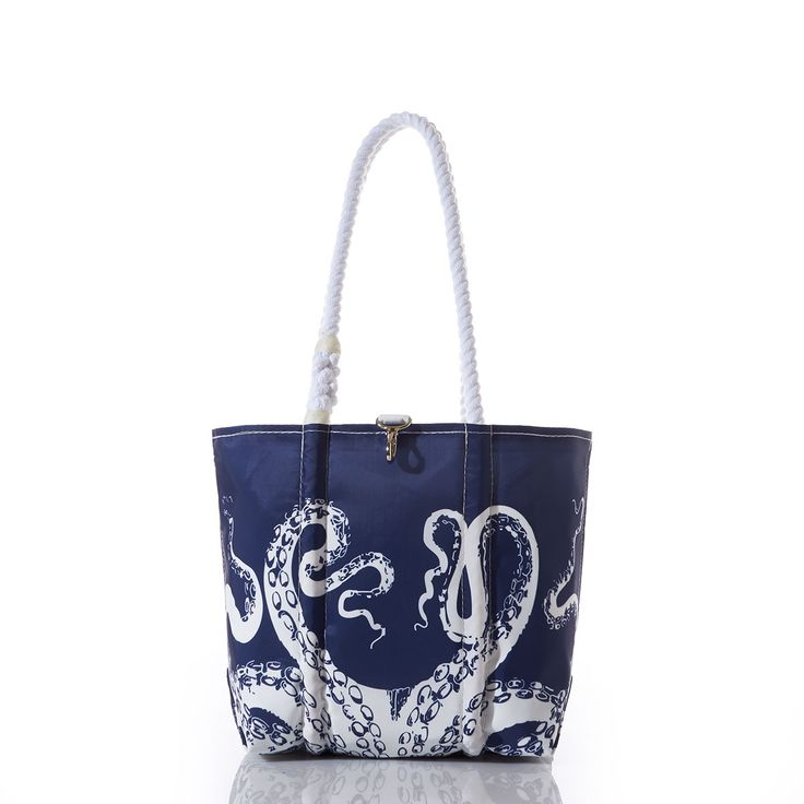 Sea Bags Recycled Sail Cloth White on Navy Octopus Handbag