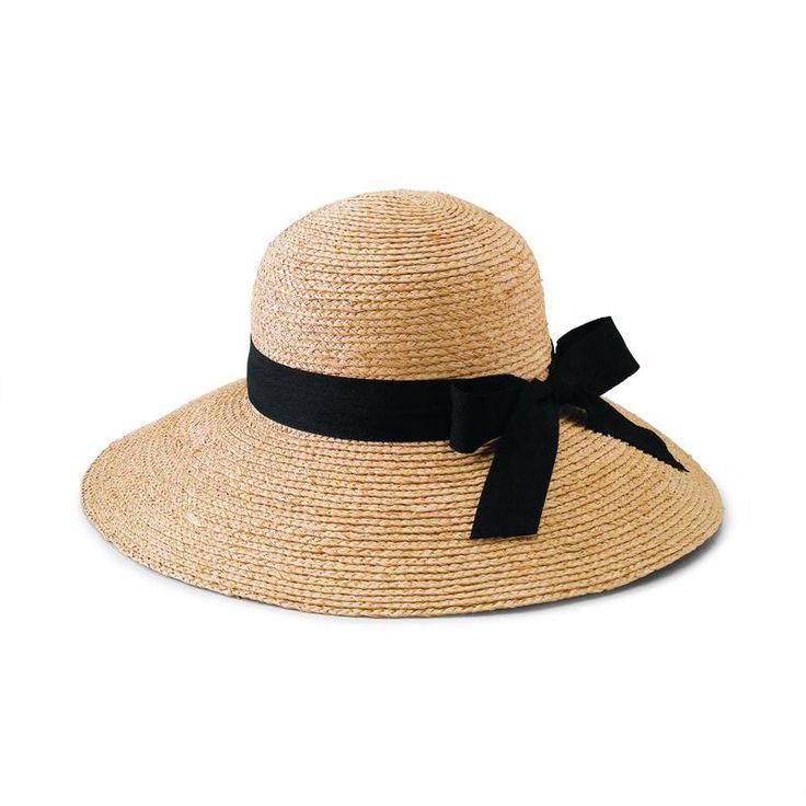 Women's Large Brim Raffia Hat With A Black Ribbon (RHL13)