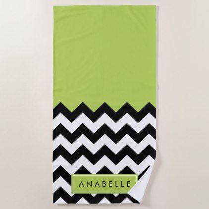 Your Name - Zigzag, Chevron Pattern - Green Black Beach Towel | Zazzle.com
