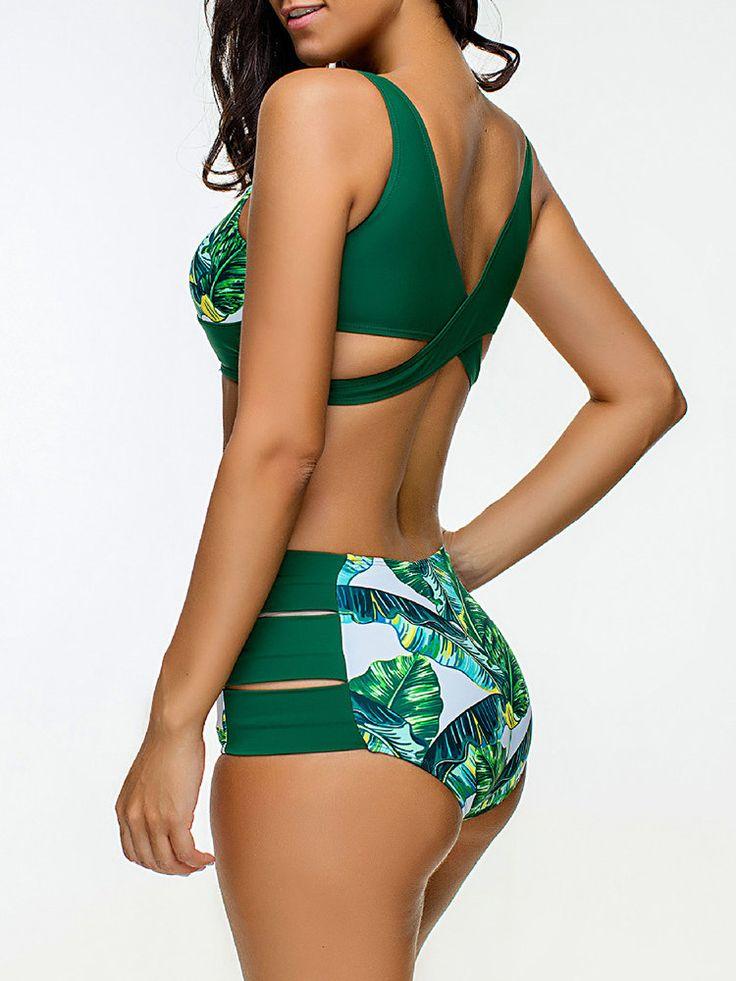 Sexy Scoop Neck Vintage Waist Hollow Gather Bikinis Sets online - NewChic