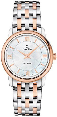 Omega DeVille Prestige Mother of Pearl Staless Steel and 18kt Gold Ladies Watch ...
