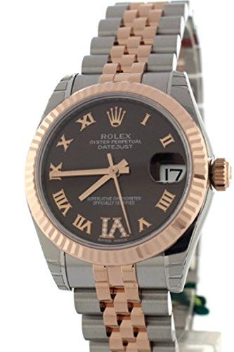 ROLEX Datejust 31 Chocolate Diamond Dial Steel and 18K Rose Gold Ladies Watch 17...