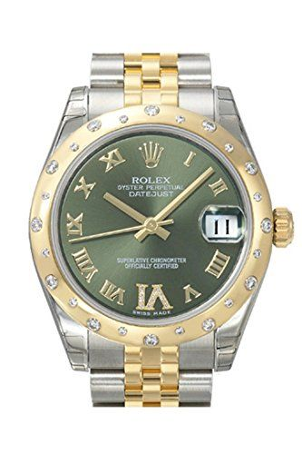 ROLEX Datejust 31 Green Roman Diamond Dial Steel and 18K Yellow Gold Ladies Watc...