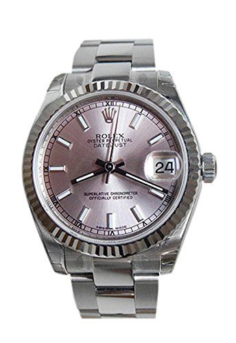 Rolex Datejust 31mm Pink Dial White Gold Fluted Bezel Ladies Watch 178274 * Deta...